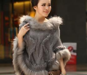 Poncho Gray Knitted ..