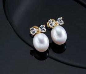 Gold White Earrings ..