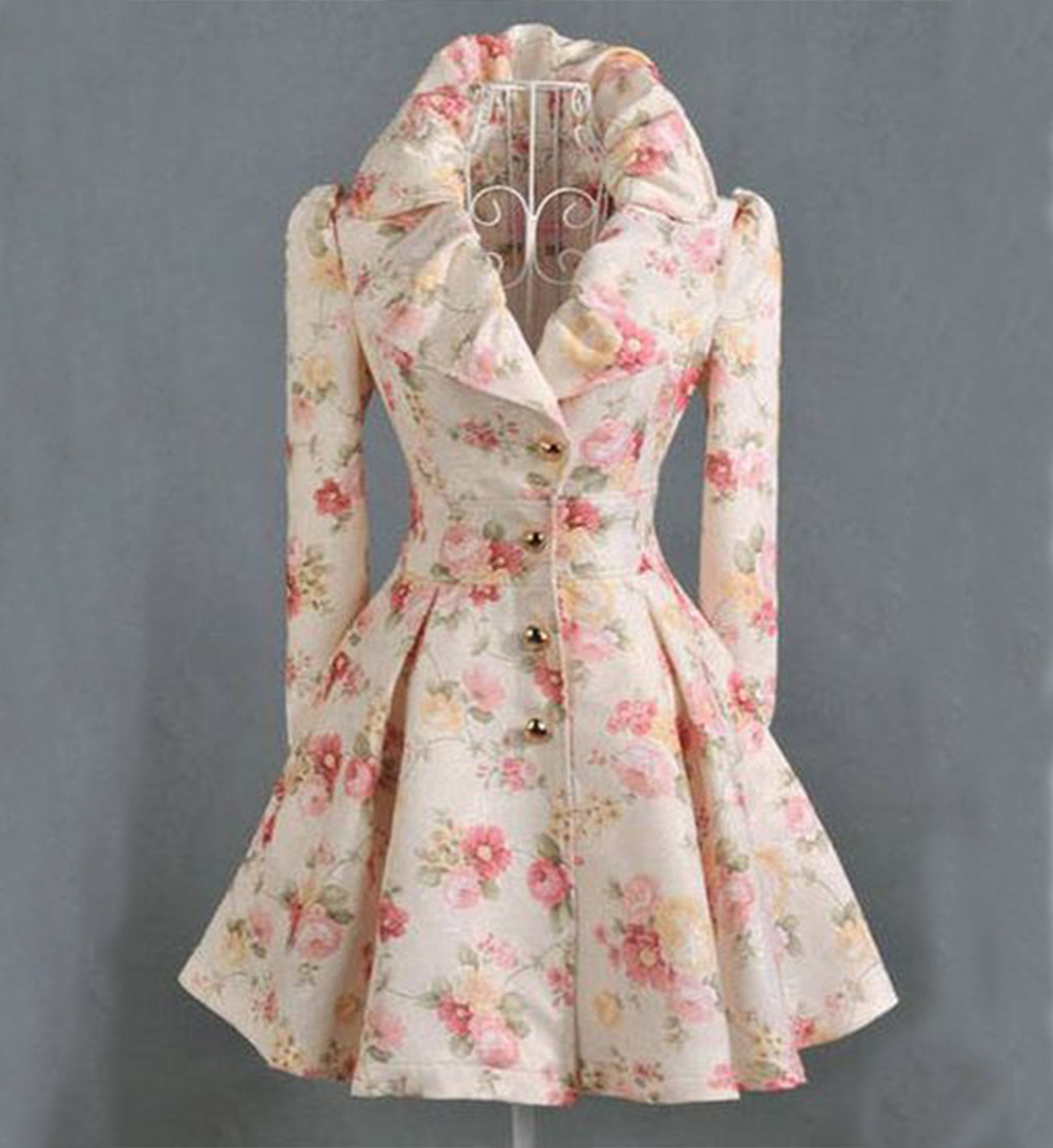 Peach Trench Coats-Printed Flower Coats for Women-Fashion Long Skirted Coats-Pink Floral Overcoats