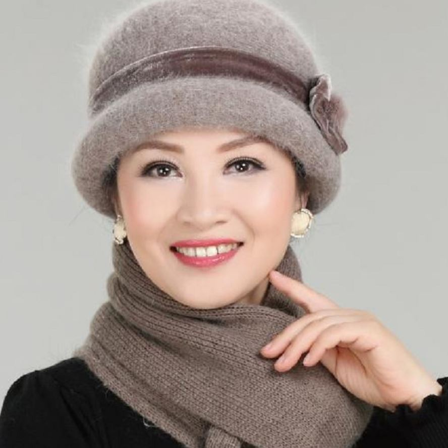 Brown Hat for Women Winter Hat Floral Skullies Wool Mixed Rabbit Fur