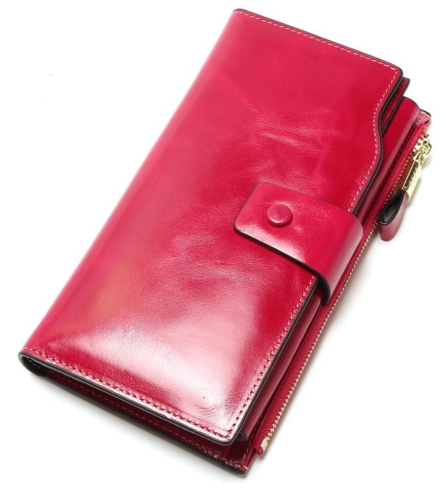 Wallet for Women Pink Multifunctional Purse Genuine Leather Long Pink Wallet