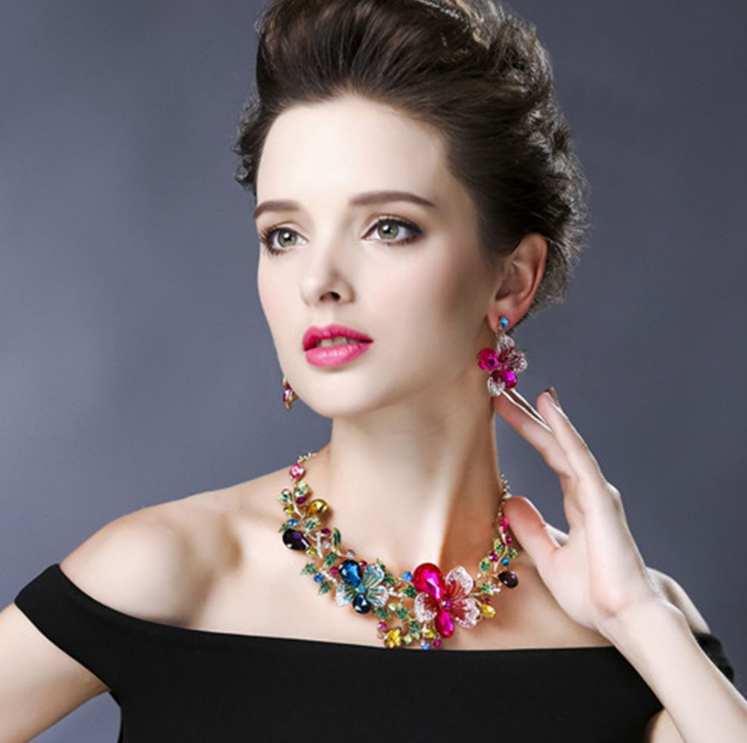 Jewelry Set for Women Floral Necklace with Matching Earrings Summer Bling