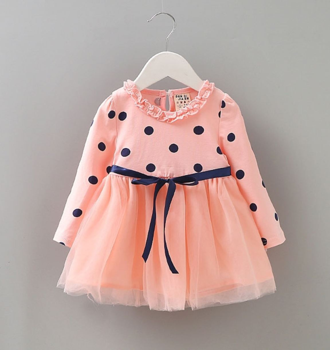 7090f84d3cccf Peach Dress for Baby Girls Polka Dot Baby Shower Gifts and Surprises Orange