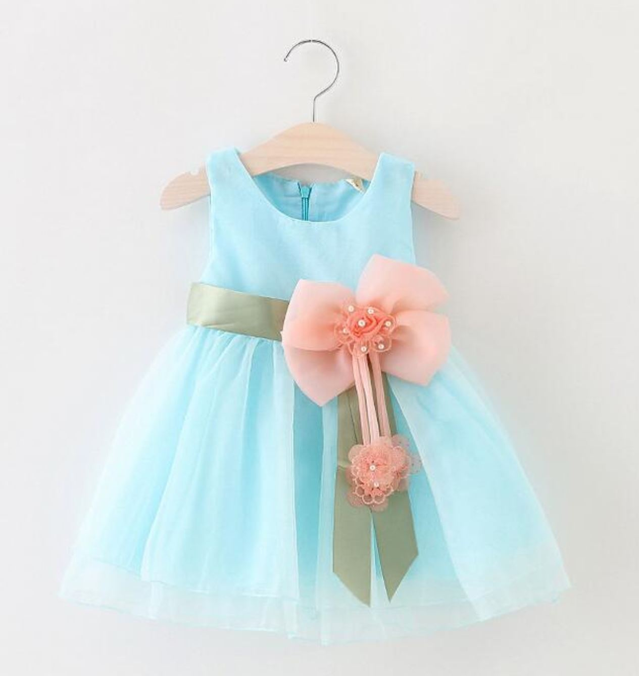 Size 9 Months Chiffon Formal Wear For Baby Girls Baby Blue Dress