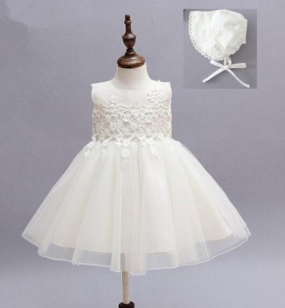 White Christening Dress with Matching White Bonnet Lacy White Dress for Baptism