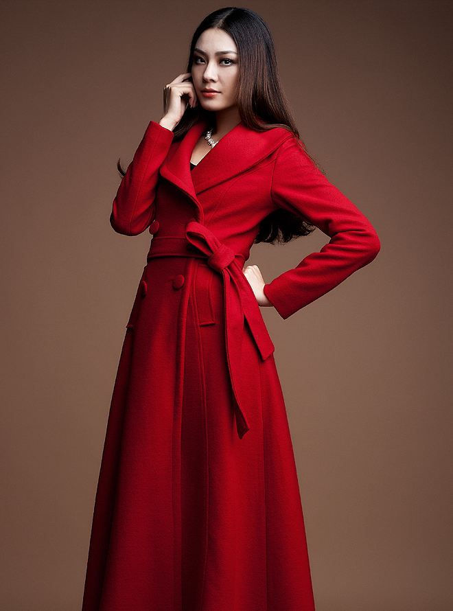 Red Coats with FREE Black Purse Winter Red Overcoats Wool Ankle Length Trench Coats