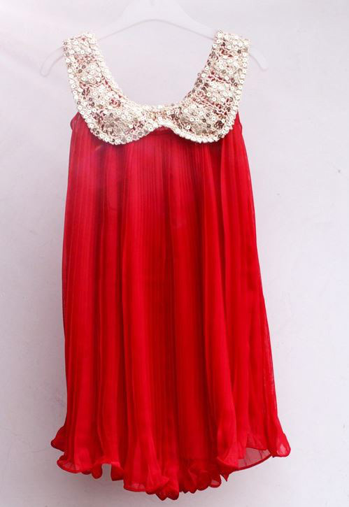 Red Tutu Dress Casual Red Girls Dress for Summer Spring Red Dress with Sequined Golden Collar