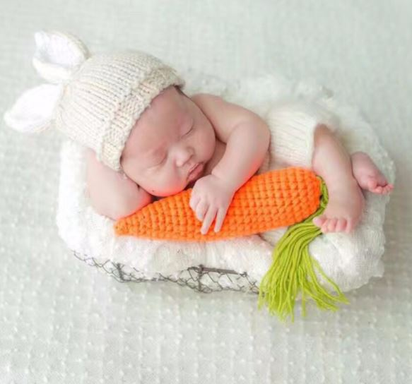 Baby Shower Gifts Rabbit Outfit with His/ Her Loving Carrots Preemie Baby Hats Newborn hats Crochet Knitted Hats Handmade
