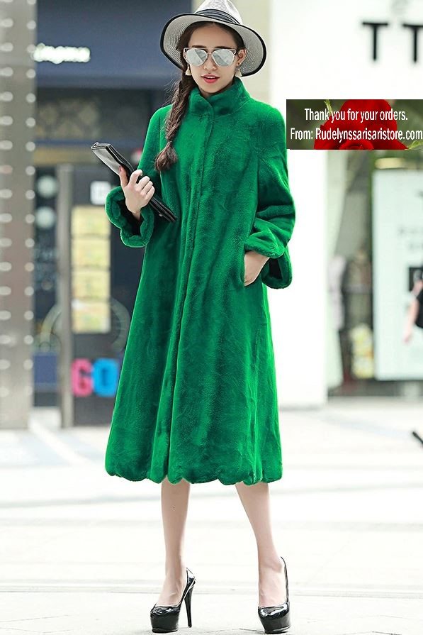 S-7XL Luxury Green Winter Coat Dress Faux Fur Cozy and Warm Dress Coats for Women New Clothing