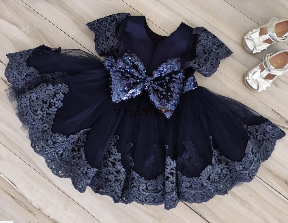 Baby Dress for 3-6 Months Ballgown Princess Dress with Golden Bow FREE SHIPPING Navy Blue Dresses for Baby Girls