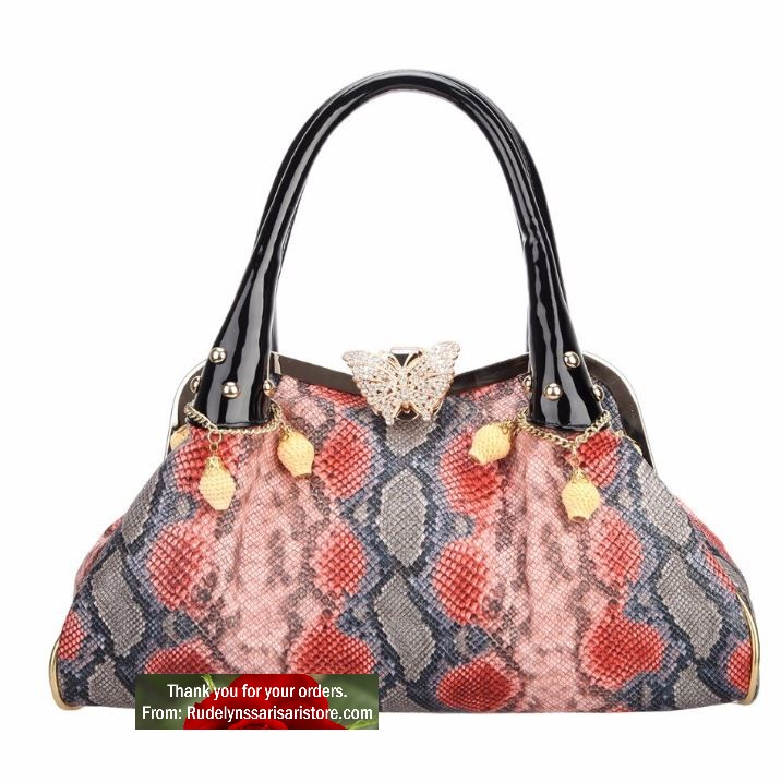 High Quality Red Bags for Women Runaway Purses Unique Butterfly Lock Hasps Pretty Handbags