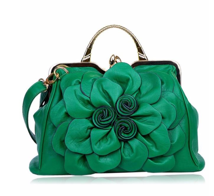 Luxury Dark Green Purse Orange Shoulder Bag Fashion Show Big Flower Handbags  for Women Leather Bags fb3f57c948419