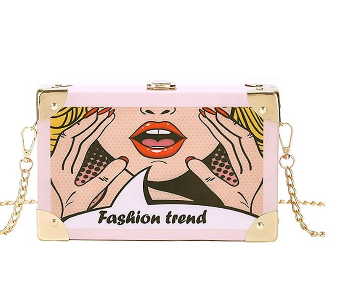 "Classy Women's Purses ""Fashion Trend"" Icon Comic Picture of Woman Cross Body Bags Pink Clutches for Women"