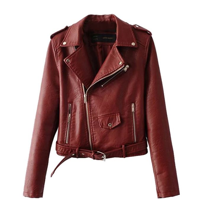 29bce648f Red Coat Jacket PU Leather Sleeve Fashion Wool Coat For Women Motorcycle  Cropped Jackets