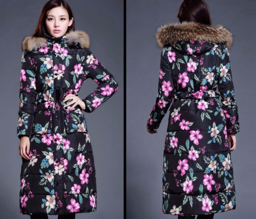 Ready for Shipping Black Parkas for Women Black Winter Coats Thick Padded Warm Printed Flowers with Adjustable Waist