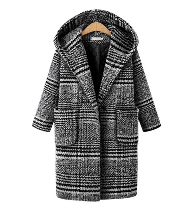 Plus Sizes 5XL,6XL Hooded Black Winter Coats for Women Wool Black Checkered Blazers for Women Winter Jackets for Women