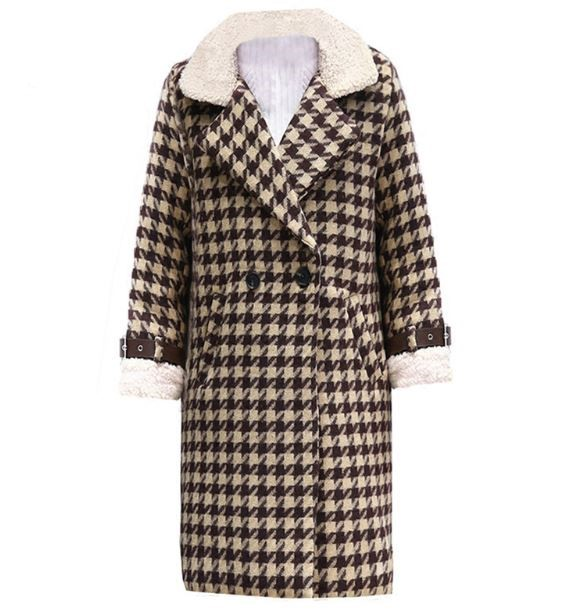 Loose Cocoon Female Winter Women Woolen Coat 2018 Temperament Plaid Winter Coats for Women Brown Checkered Trench Coats Brown Winter Blazers