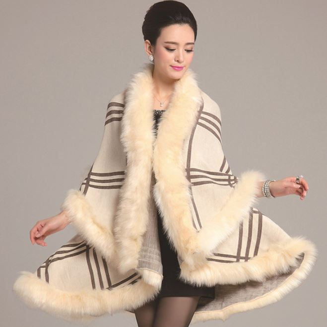 Shawl for Women Thick and Warm Cream Ivory Wraps for Women Wool Material Warm Shawl with Faux Fox Fur Cream Checkered