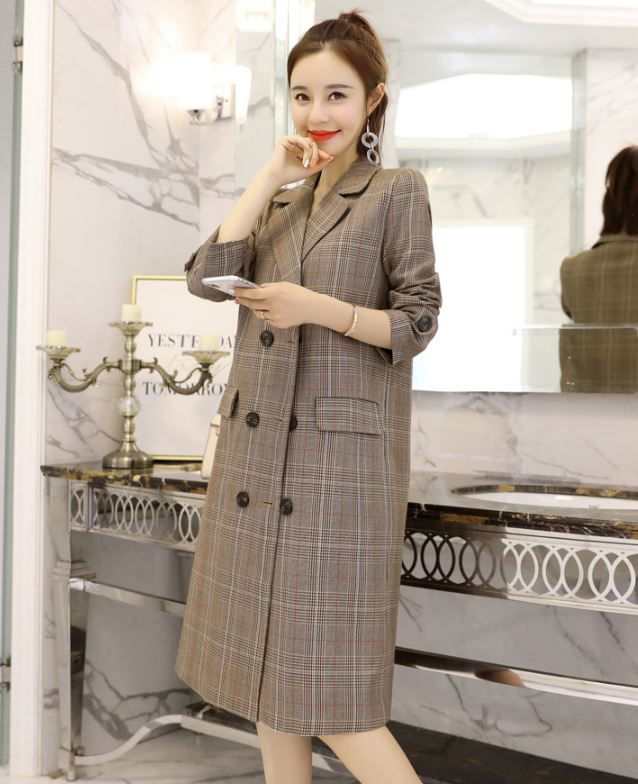 New Arrival England Fashion Blazer Long and Warm Blazers for Women Brown Coats for Women