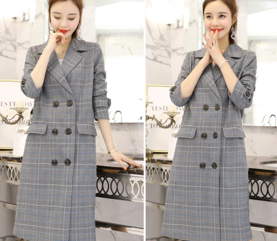 Long Blazers New Arrival England Fashion Blazer Long and Warm Blazers for Women Blue Trench Coats for Women