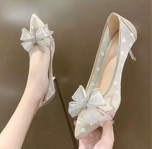 Rsslyn Ivory Beige Shoes for Women Mesh High Heels Pointed Toe Butterfly Bowknot