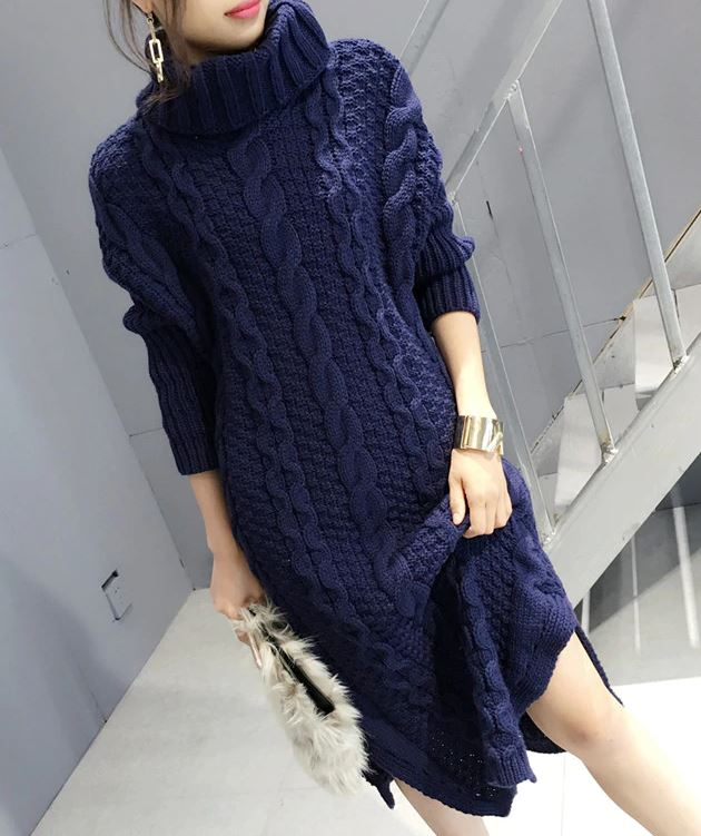New 2019 Fashion Knitted Long Sweater Dress Winter Dress Navy Blue Dress