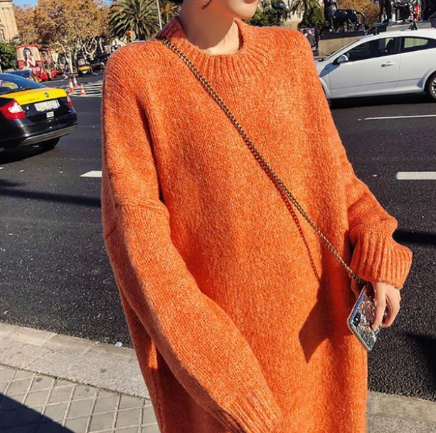 Plus Size Clothing 6XL Dress New 2019 Fashion Knitted Long Winter Dress Orange Dress Orange Sweater for Women
