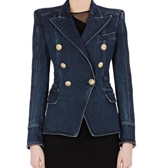 Free Shipping Denim Blazers for Women Gift Super Quality Denim Jackets for Women