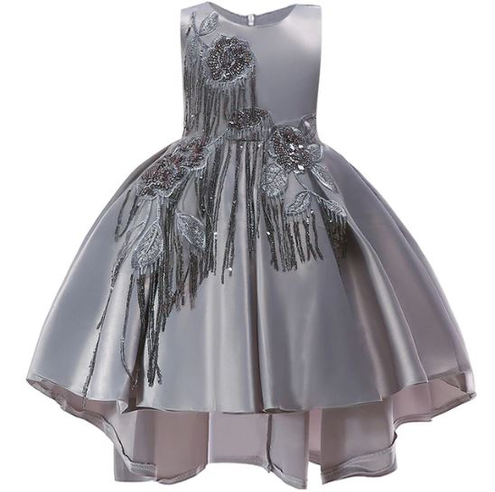 Formal Dress for Girls Teen Girls Luxury Silver Gowns Girls Silver Dress Gray Beaded Dresses