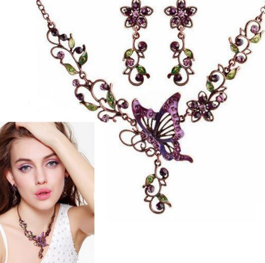 Purple Butterfly Jewelry Set for Women Vintage Victorian Jewelry Sets Photography Props for Women Celtic Bohemian