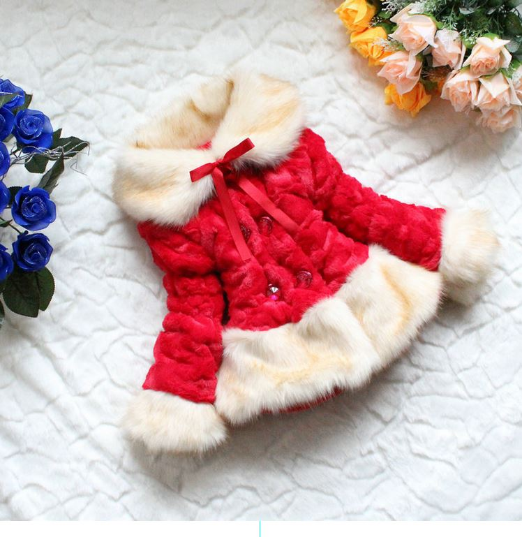 Free Shipping! Girls Red Jacket-jacket Christmas Fur Jacket -Super Soft Luxurious jacket for Girls-Winter Faux Red Jacket