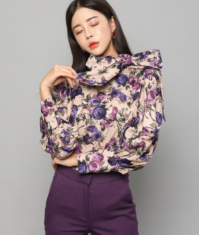 New Fashion Blouses for Women-Turtleneck Silk Blouses Purple Roses Puffy Sleeves Spring Women Lantern Sleeves Blouse Bow Tie Flower