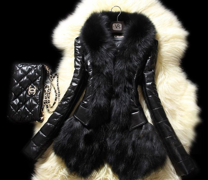 Pretty Black Jackets for Women with Real Rabbit Fur Coats for Women Black Coats Black Leather Jackets