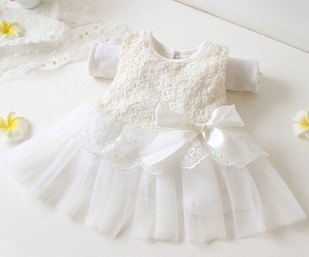b3e7794fc2e57 Christening Dress For Girls White Baby Dress Formal Wear For Newborn Girls