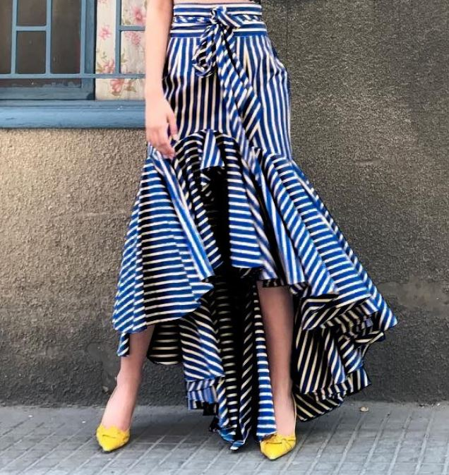 Navy Blue Modest Striped Ruffled Floor Length Maxi Skirts with Bow for Women FREE SHIPPING Fashion Long Skirts