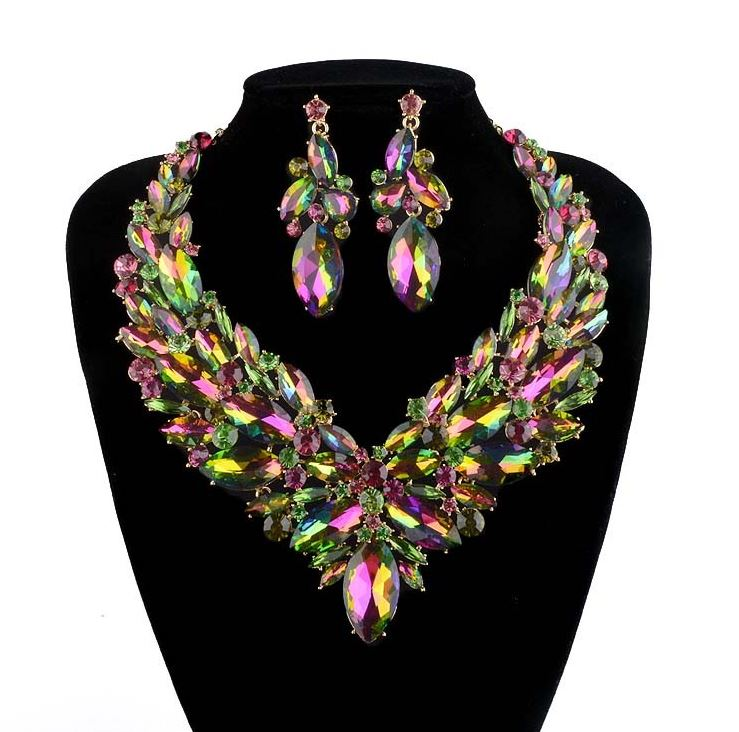 New Jewelry Green AB Color Crystal Jewelry Set for Women Gorgeous Party Wedding Accessory