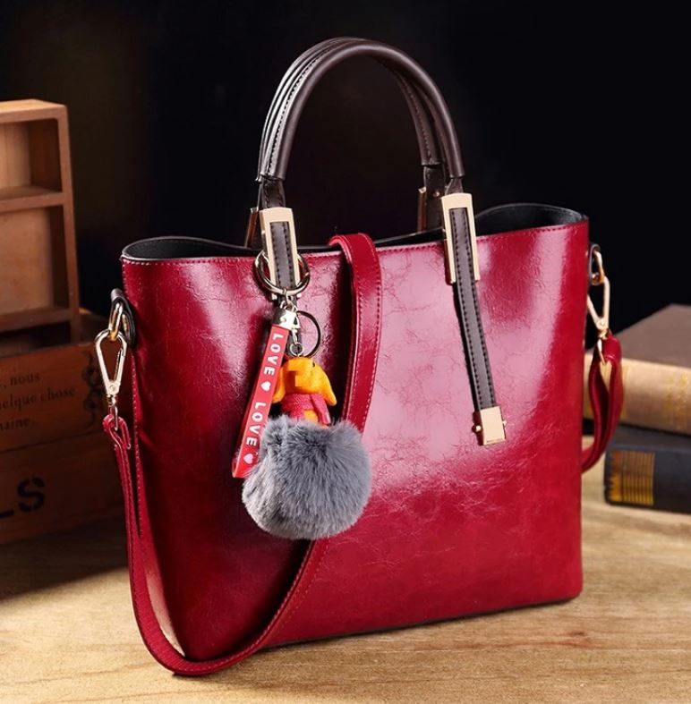 Real Leather Candy Apple Red Color Leather Bags for Women Red Tote with Fur Bling
