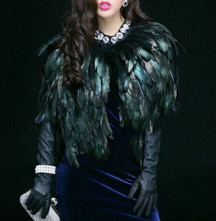 Exotic Feather Scarf for Women Big Crystal Stones for Capes for Performer