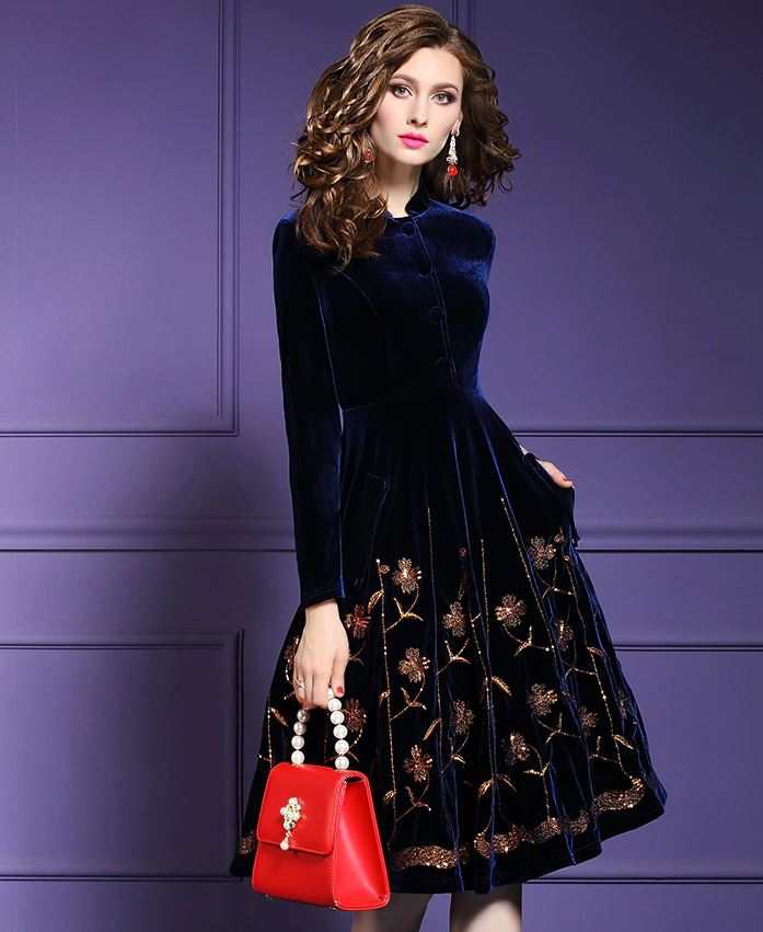 Bella Women Fashion Dress Coats High Quality Navy Blue Velvet Knee Length Embroidery Sequined Dress for Women