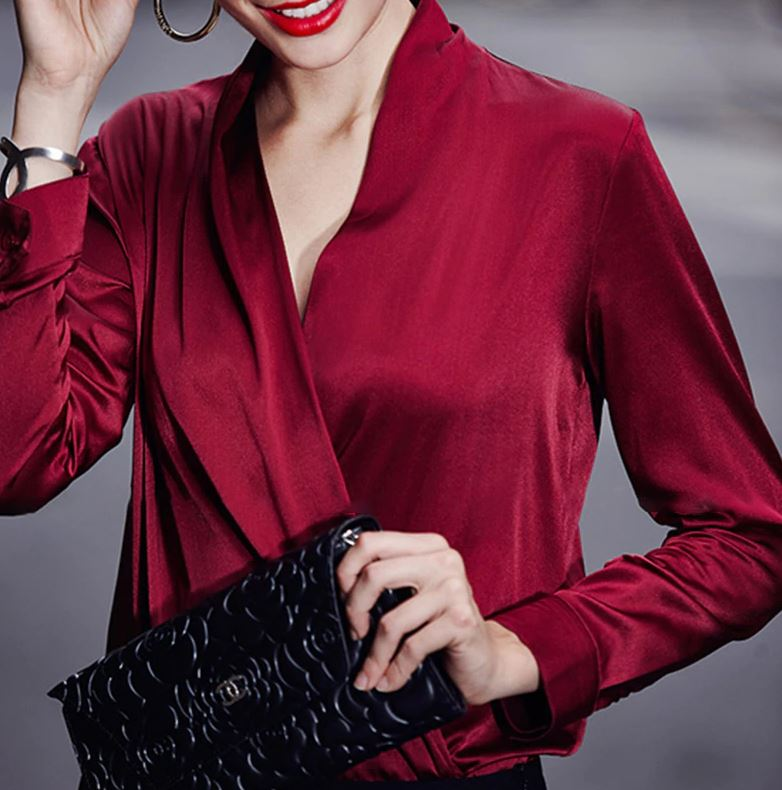Rich Red Blouses with Open Front Japanese Women Style Red Kimono Office Work Tops for Women-One Size Only