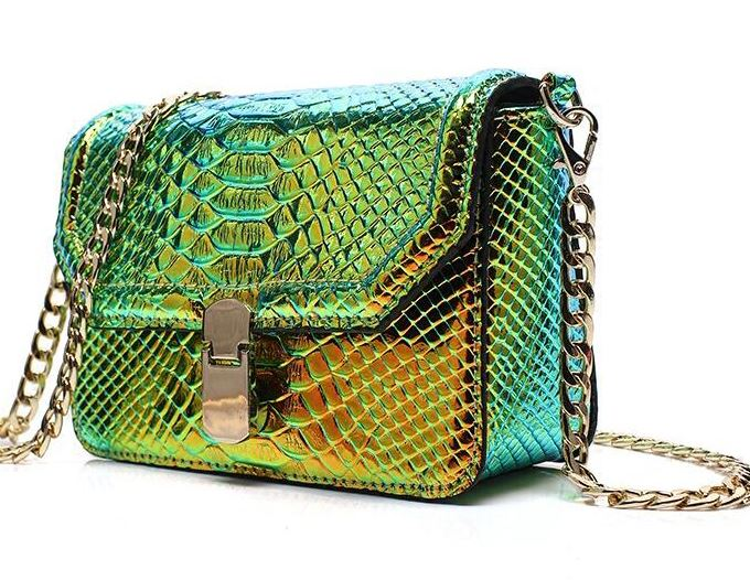High Quality Pretty Green Small Green Clutch Green Purse for Women Snake Pattern Change Color