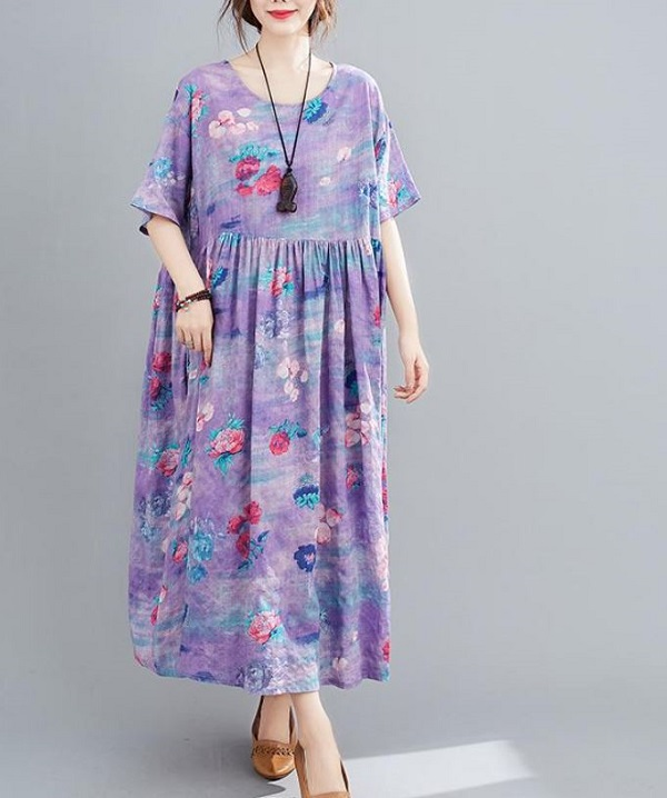 Rsslyn High-Quality Linen Dress Lavander Abstract Color Short Sleeves Linen Dresses for Women Plus Size Clothes for Plus Size Women