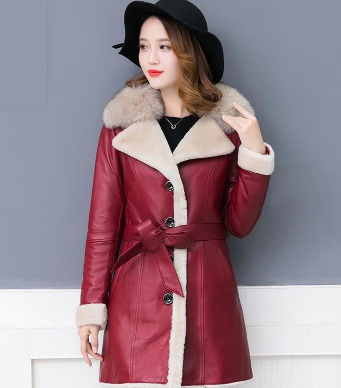 Sheepskin Leather Jackets for Women New Red Coats for Women with Free Winter Hat
