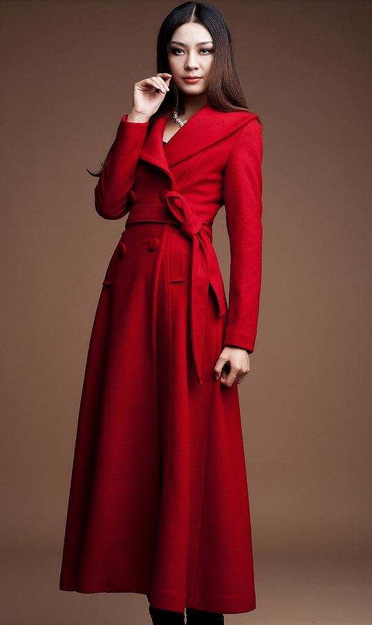 Red Trench Coats for Women Warm and Skirted Wool Coats