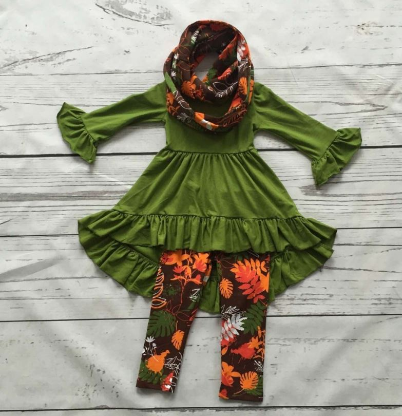 SALE Green Scarf and Green Blouse and Green Leggings Set Ruffled Asymmetrical Blouse Pretty Green Fall Outfits for Girls