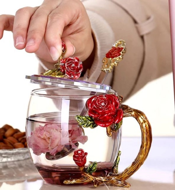 Rsslyn 3pcs/SET High-Grade Glass with Molded Red Roses Tea Cup with Lid or Cover and Spoon Mother's Day Gift