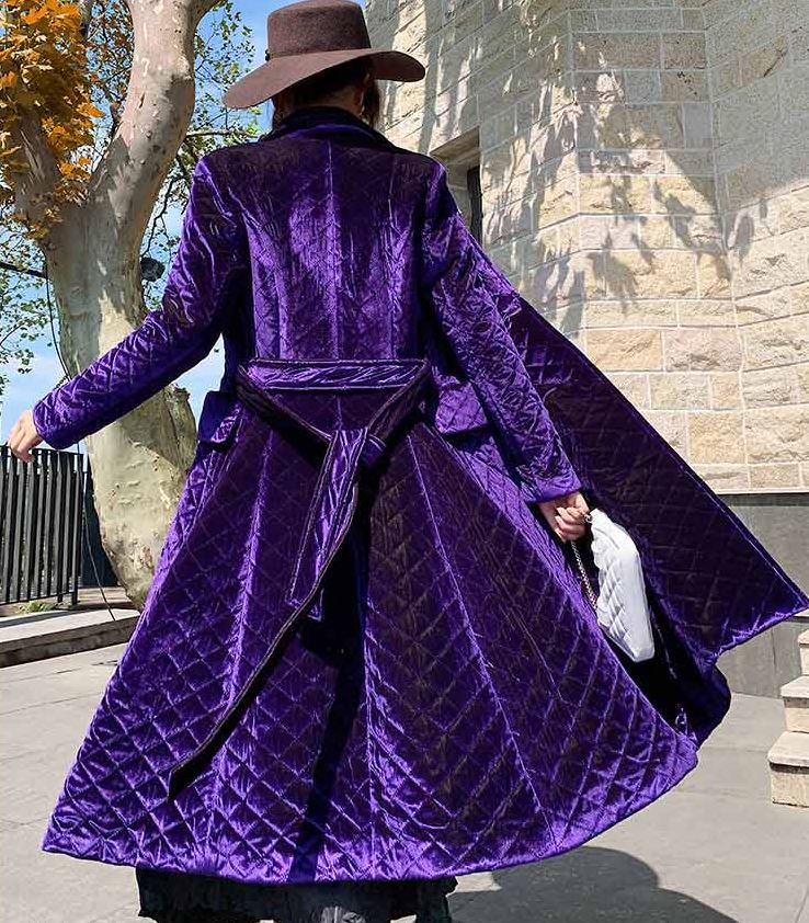 2020 Purple Long Cotton Padded Parkas Coats for Women-Quilted Winter Double Breasted Belted Slim Trench Coats-Work Office Thick Warm Velvet Overcoats