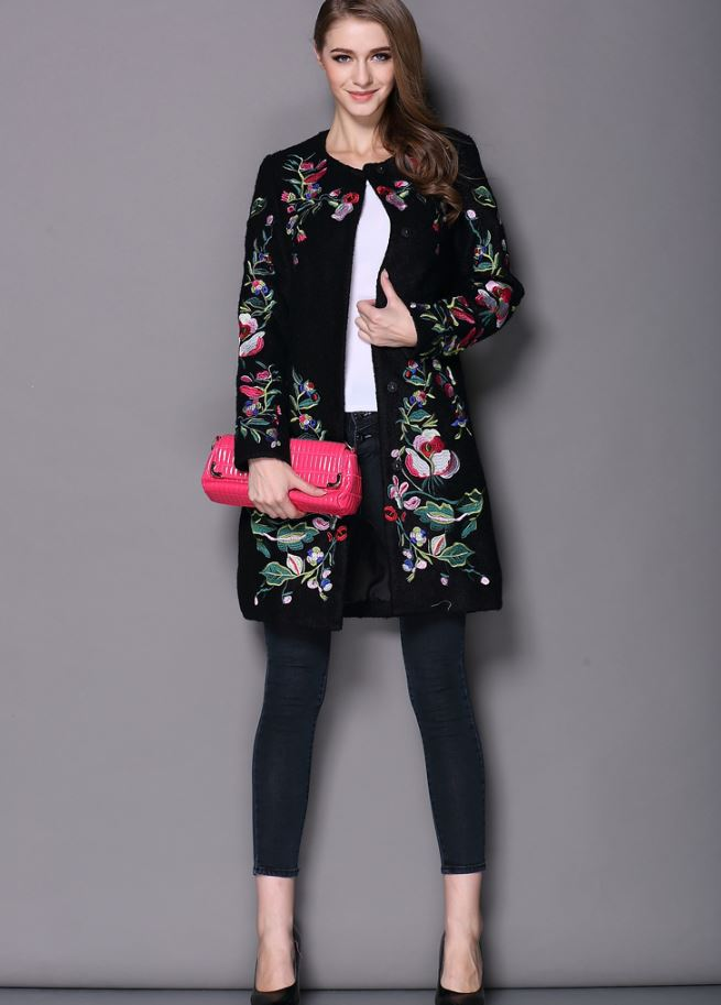 New Wool Black Trench Coats for Women Winter Coat Embroidered Neck Long Sleeved O Button