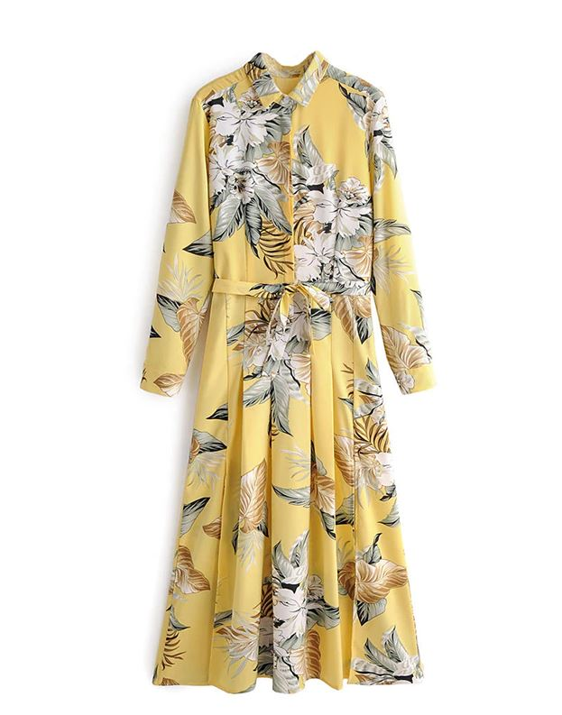 Yellow Pleated Dress Yellow Knee Length Dress Yellow Maxi Dress for Women Stylish Elegant Floral Print Dresses Long Sleeve Sashes