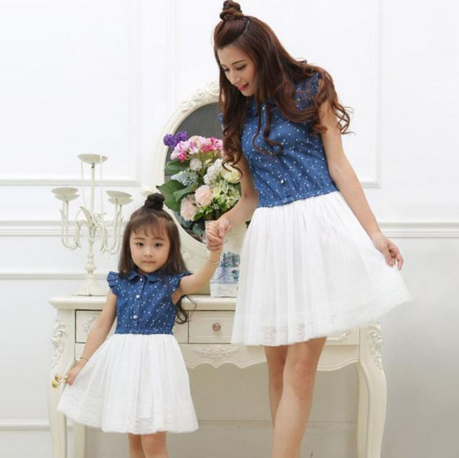 New Heart Pattern Denim Summer Dress for Tween/Teenage Girls/Women's Dress Denim Ruffled Trim